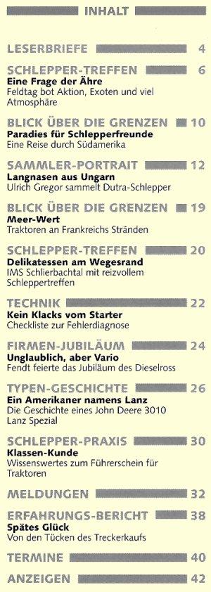 Schlepper Post 2005 - 5 Inhaltsverzeichnis
