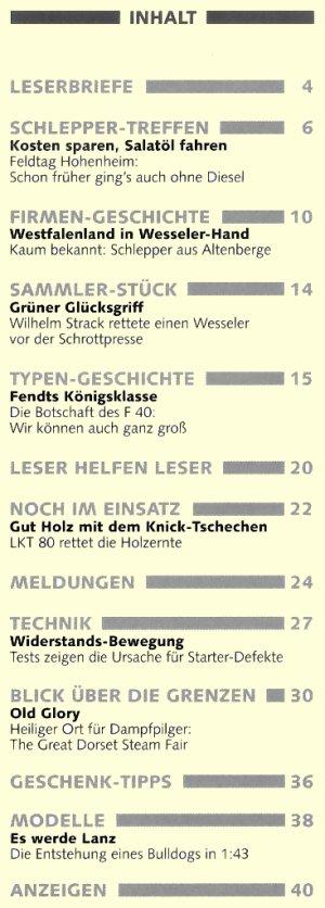 Schlepper Post 2005 - 6 Inhaltsverzeichnis
